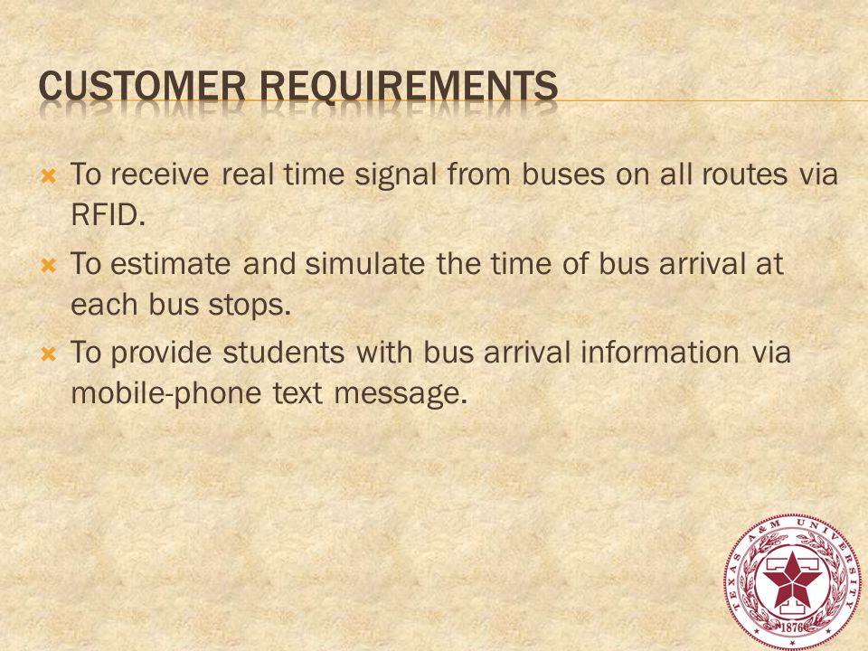 To receive real time signal from buses on all routes via RFID.