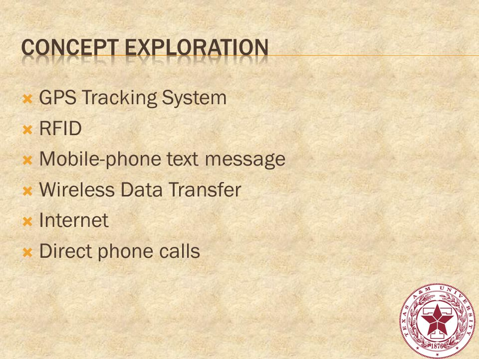 GPS Tracking System RFID Mobile-phone text message Wireless Data Transfer Internet Direct phone calls