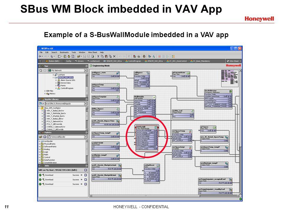 11HONEYWELL - CONFIDENTIAL11 SBus WM Block imbedded in VAV App Example of a S-BusWallModule imbedded in a VAV app
