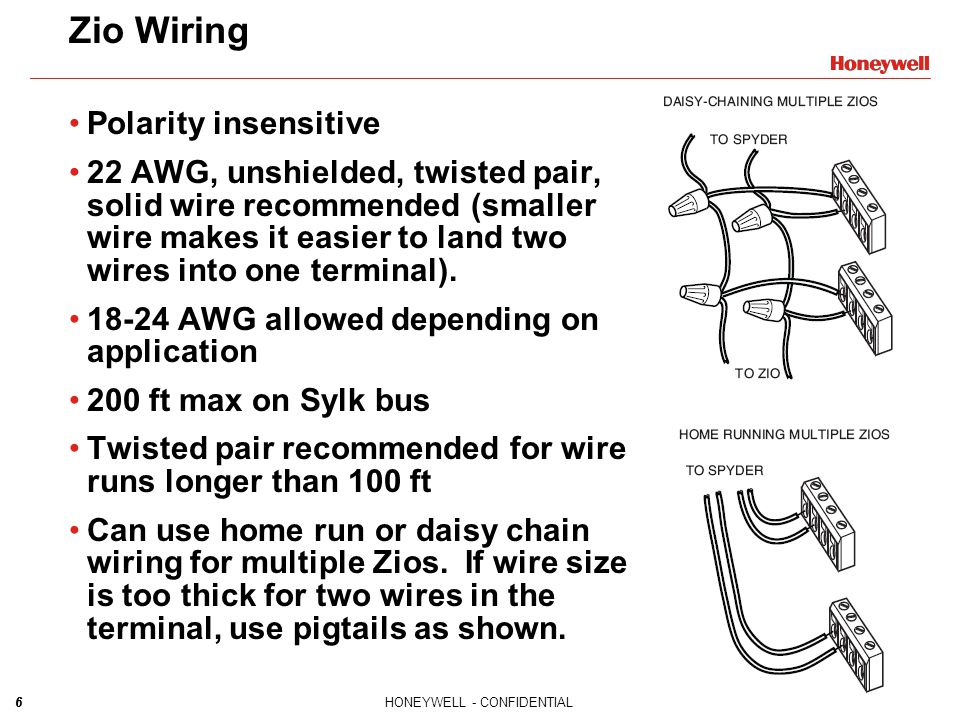 6HONEYWELL - CONFIDENTIAL6 Zio Wiring Polarity insensitive 22 AWG, unshielded, twisted pair, solid wire recommended (smaller wire makes it easier to l