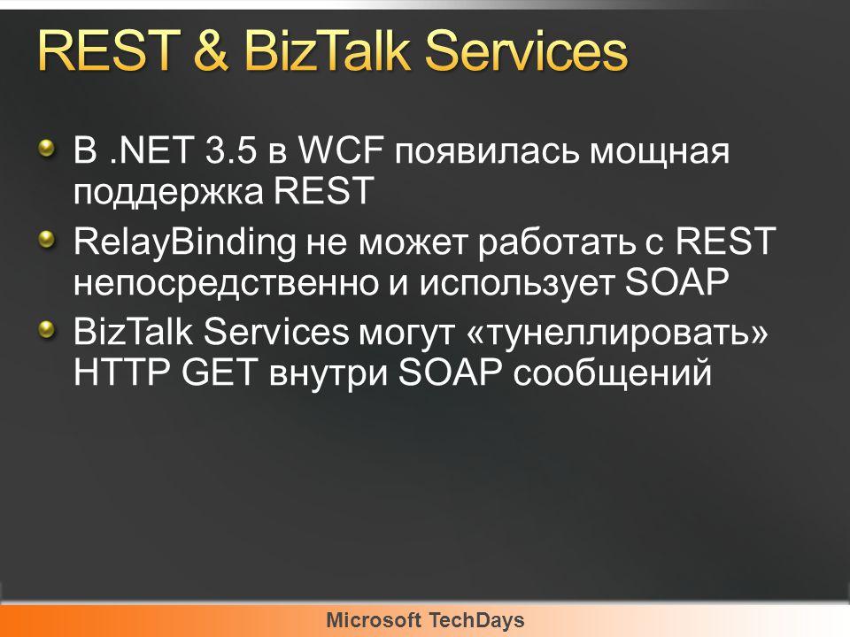 Microsoft TechDays В.NET 3.5 в WCF появилась мощная поддержка REST RelayBinding не может работать с REST непосредственно и использует SOAP BizTalk Services могут «тунеллировать» HTTP GET внутри SOAP сообщений