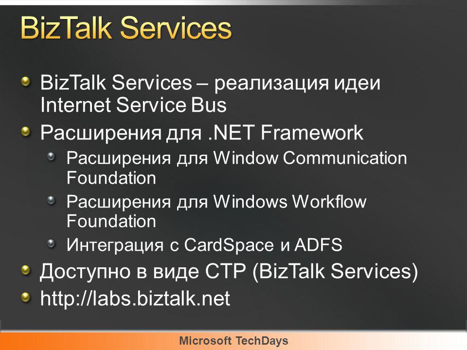 Microsoft TechDays BizTalk Services – реализация идеи Internet Service Bus Расширения для.NET Framework Расширения для Window Communication Foundation Расширения для Windows Workflow Foundation Интеграция с CardSpace и ADFS Доступно в виде CTP (BizTalk Services) http://labs.biztalk.net