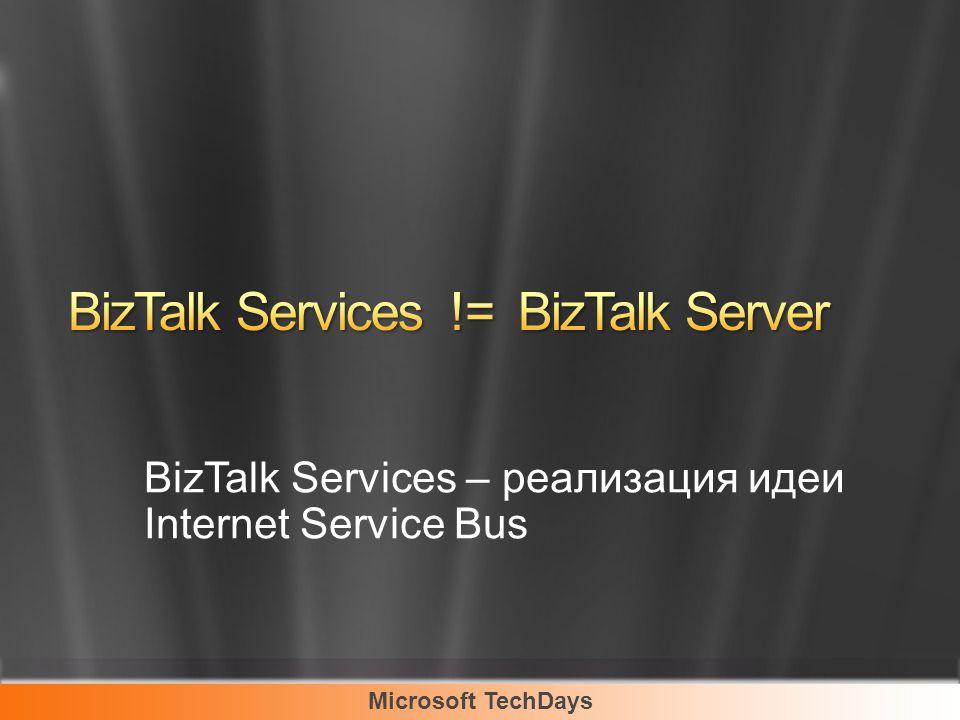 Microsoft TechDays BizTalk Services – реализация идеи Internet Service Bus