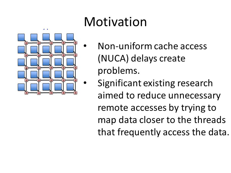 Motivation Non-uniform cache access (NUCA) delays create problems.