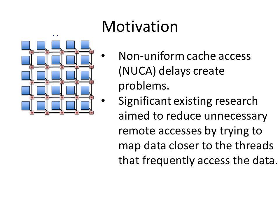 Motivation Non-uniform cache access (NUCA) delays create problems.