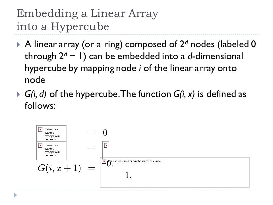 Embedding a Linear Array into a Hypercube A linear array (or a ring) composed of 2 d nodes (labeled 0 through 2 d 1) can be embedded into a d-dimensio