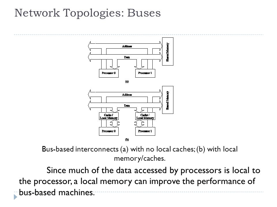 Network Topologies: Buses Bus-based interconnects (a) with no local caches; (b) with local memory/caches.