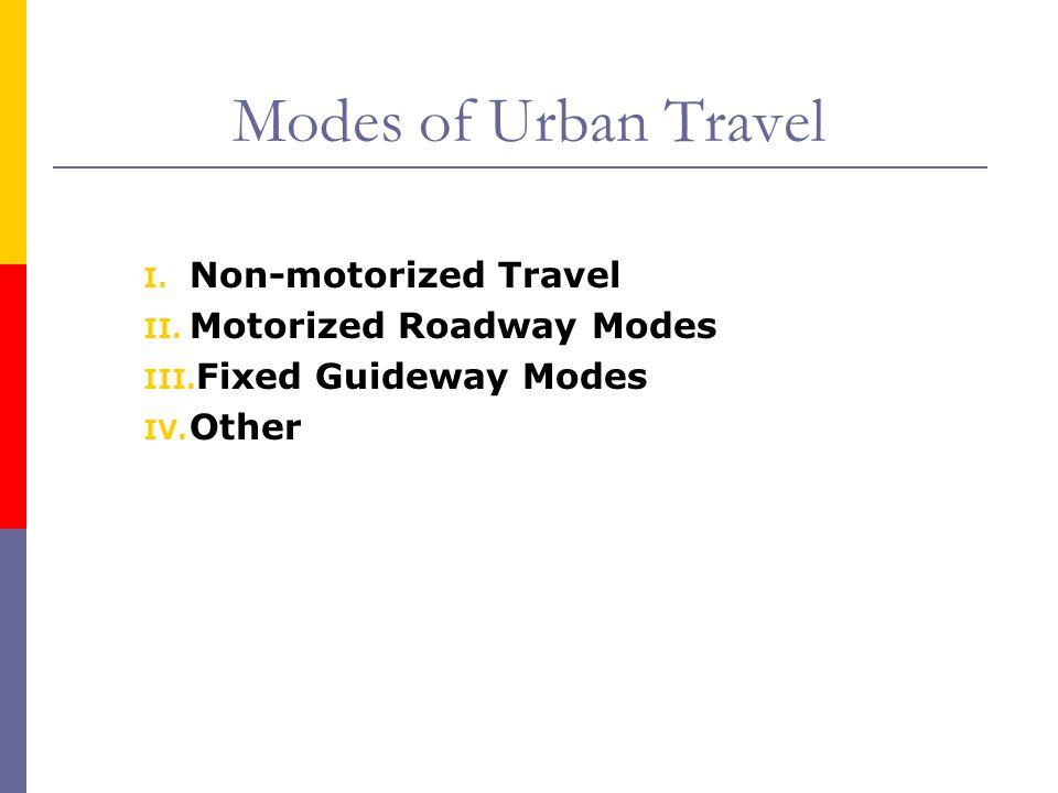 Modes of Urban Travel I. Non-motorized Travel II. Motorized Roadway Modes III. Fixed Guideway Modes IV. Other