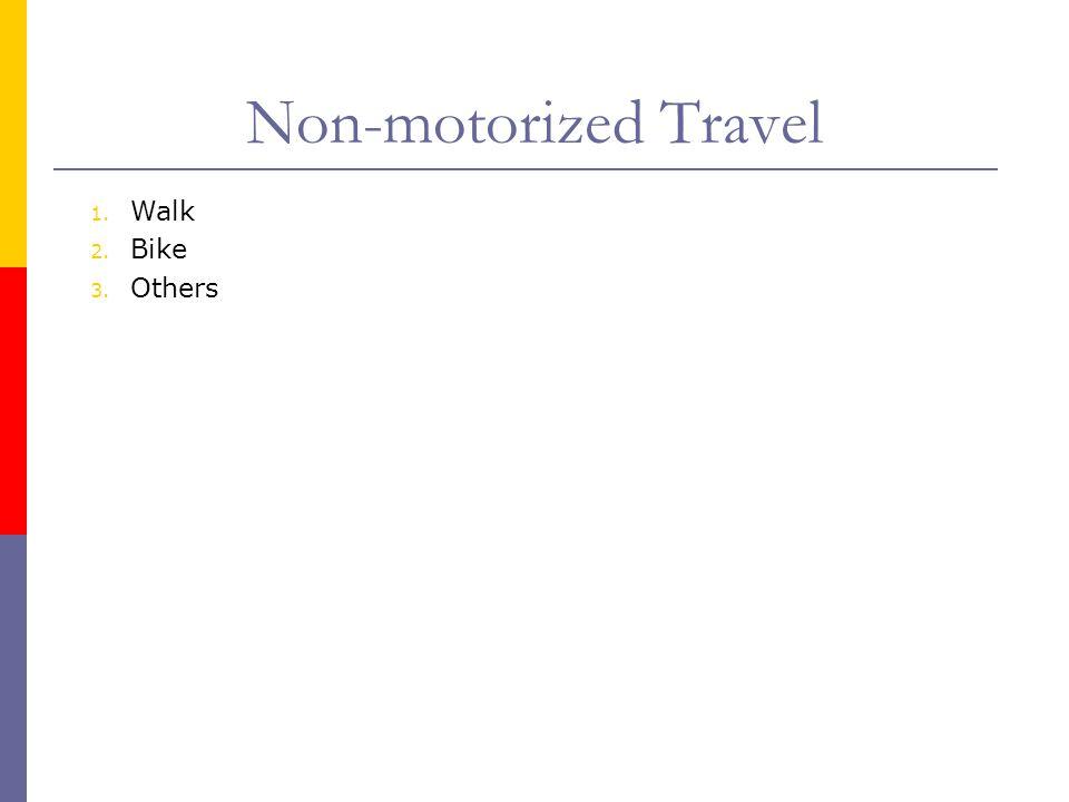 Non-motorized Travel 1. Walk 2. Bike 3. Others