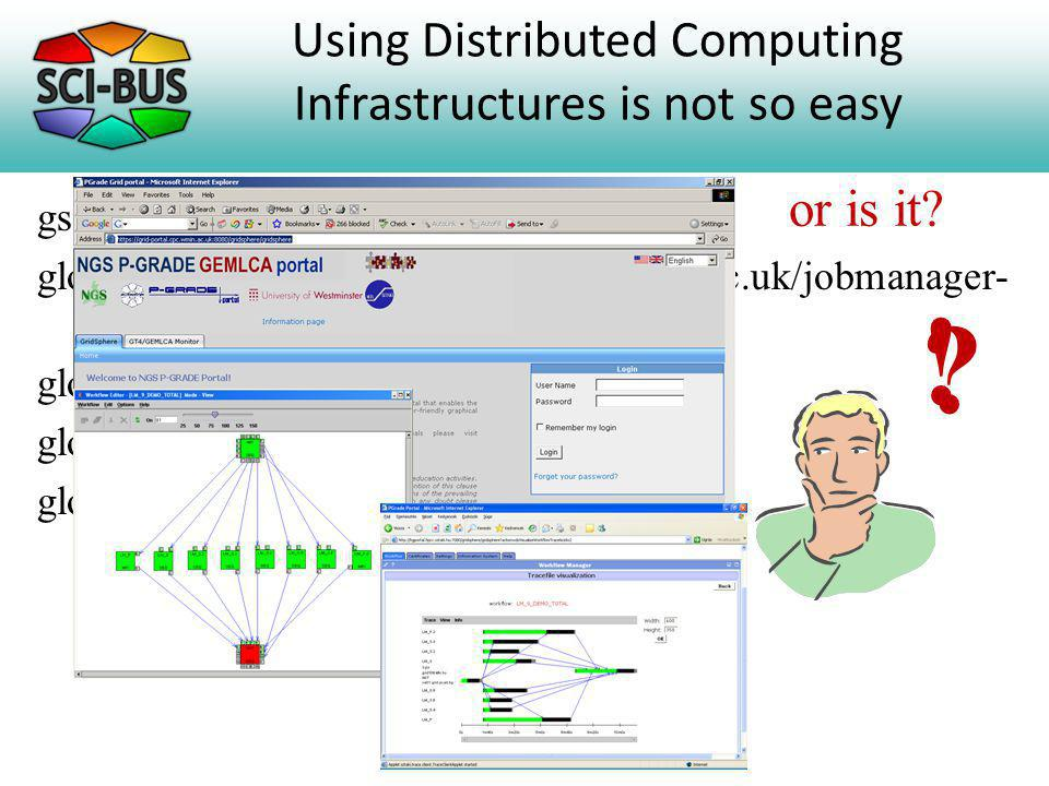 Using Distributed Computing Infrastructures is not so easy gsissh -p 2222 grid-compute.oesc.ox.ac.uk globus-job-submit grid-compute.oesc.ox.ac.uk/jobmanager- pbs -q RXXXXX /bin/hostname -f globus-job-status globus-job-get-output globus-job-clean .