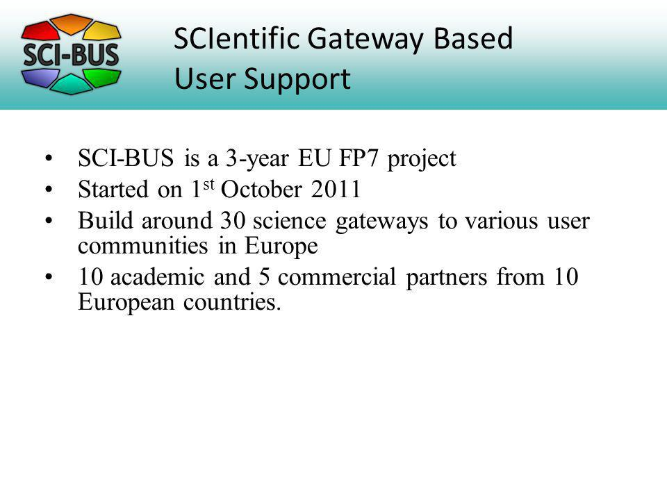 SCI-BUS is a 3-year EU FP7 project Started on 1 st October 2011 Build around 30 science gateways to various user communities in Europe 10 academic and 5 commercial partners from 10 European countries.