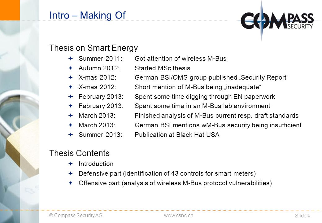 © Compass Security AG Slide 5 www.csnc.ch Intro – Smart Grids Smart Grid Blue Print