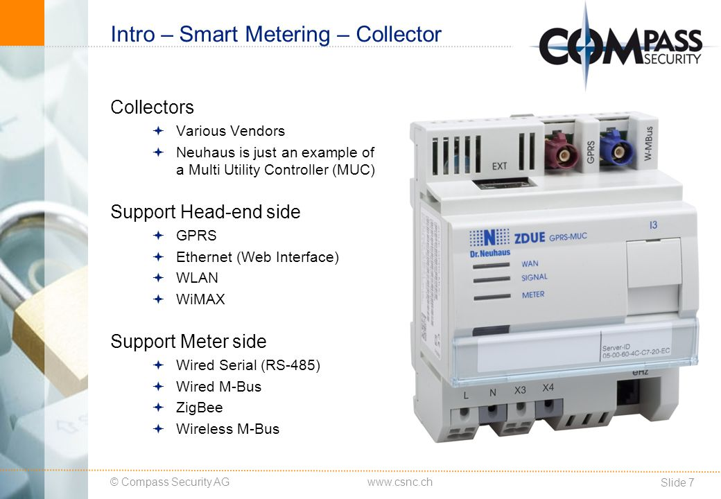 © Compass Security AG Slide 8 www.csnc.ch Intro – Smart Metering – Collector GUI