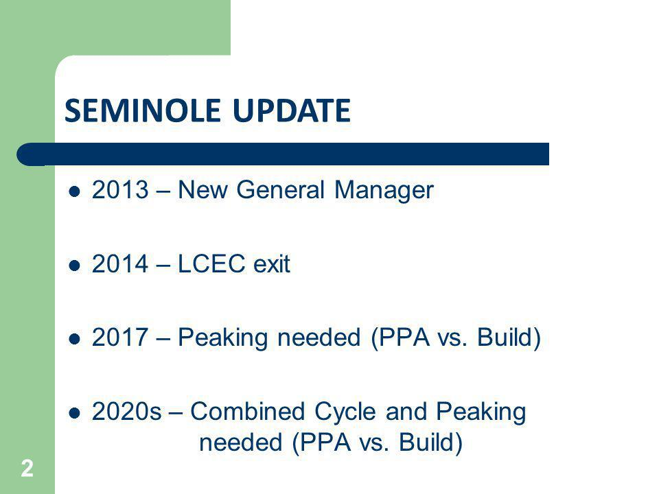 2013 – New General Manager 2014 – LCEC exit 2017 – Peaking needed (PPA vs. Build) 2020s – Combined Cycle and Peaking needed (PPA vs. Build) 2