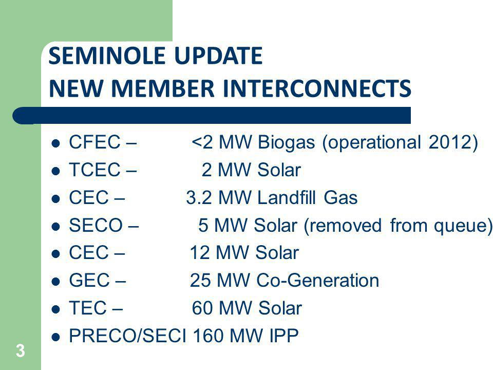 SEMINOLE UPDATE NEW MEMBER INTERCONNECTS CFEC – <2 MW Biogas (operational 2012) TCEC – 2 MW Solar CEC – 3.2 MW Landfill Gas SECO –5 MW Solar (removed