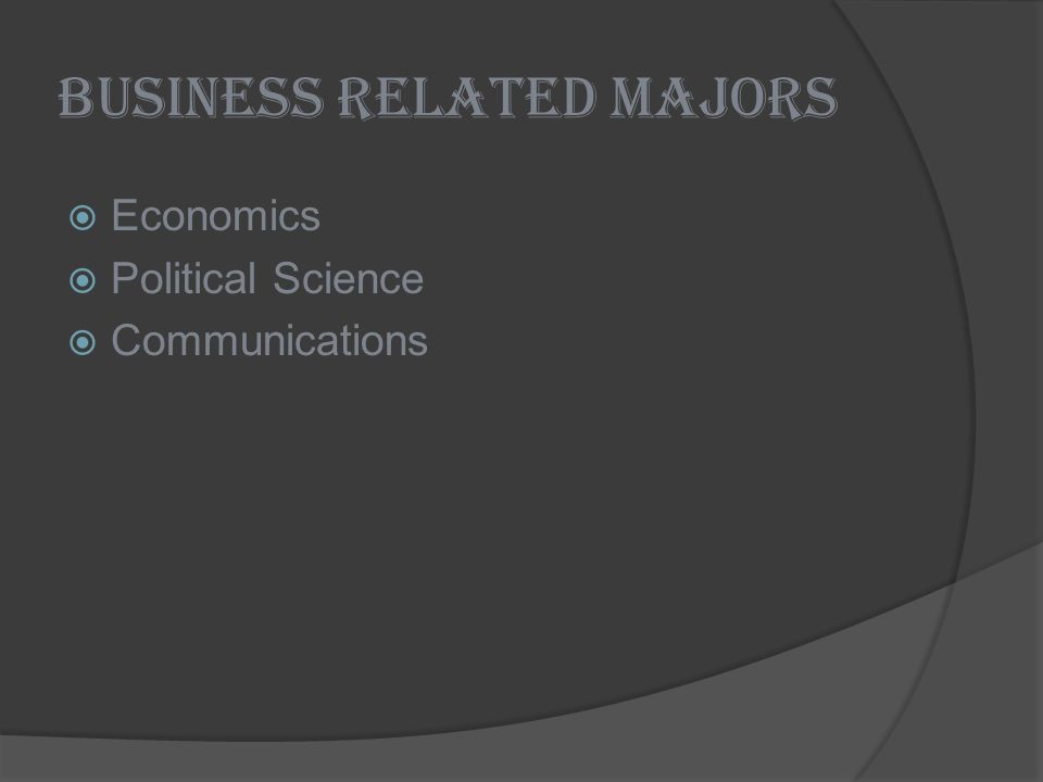 Business Related Majors Economics Political Science Communications
