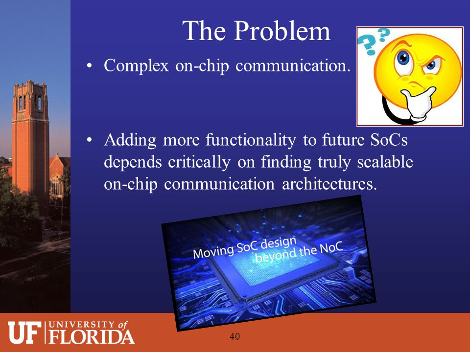 The Problem Complex on-chip communication. Adding more functionality to future SoCs depends critically on finding truly scalable on-chip communication