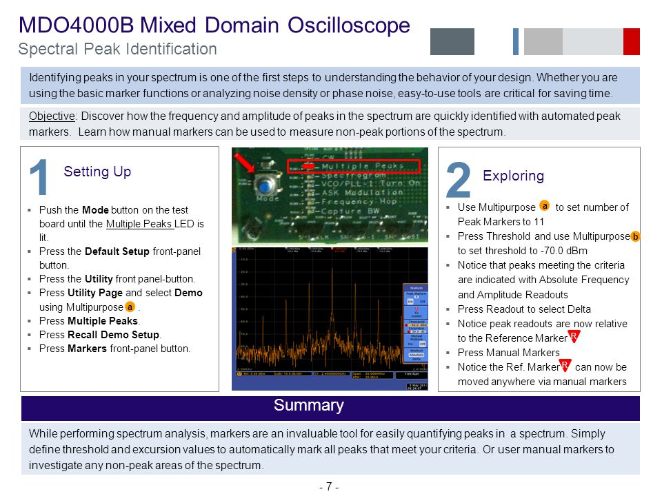 MDO4000B Mixed Domain Oscilloscope Spectral Peak Identification Identifying peaks in your spectrum is one of the first steps to understanding the behavior of your design.
