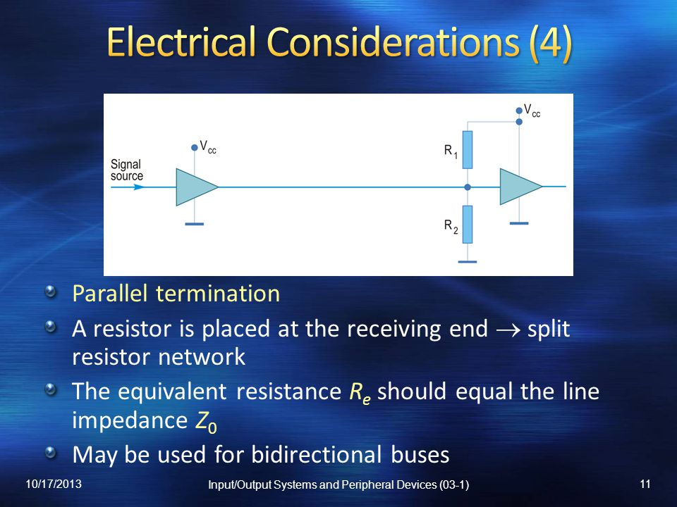 Parallel termination A resistor is placed at the receiving end split resistor network The equivalent resistance R e should equal the line impedance Z