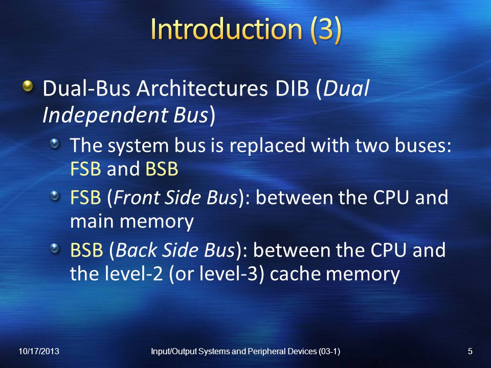 There is no bus arbiter Example of decentralized arbitration n prioritized bus request lines n devices To use the bus, a device asserts its request line All devices monitor all the request lines Disadvantages: more bus lines required; the number of devices is limited 10/17/201346Input/Output Systems and Peripheral Devices (03-1)