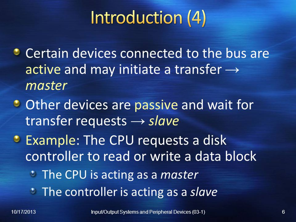 Introduction Electrical Considerations Data Transfer Synchronization Bus Arbitration VME Bus Local Buses PCI Bus PCI Bus Variants Serial Buses 10/17/20137Input/Output Systems and Peripheral Devices (03-1)