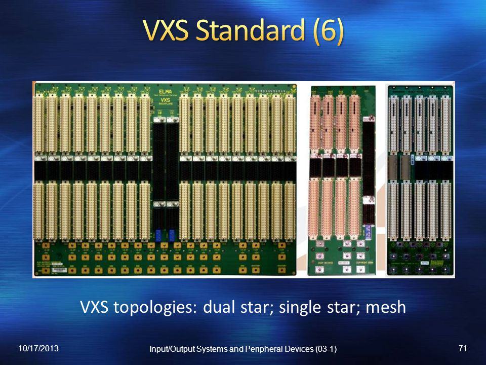 VXS topologies: dual star; single star; mesh 10/17/2013 Input/Output Systems and Peripheral Devices (03-1) 71