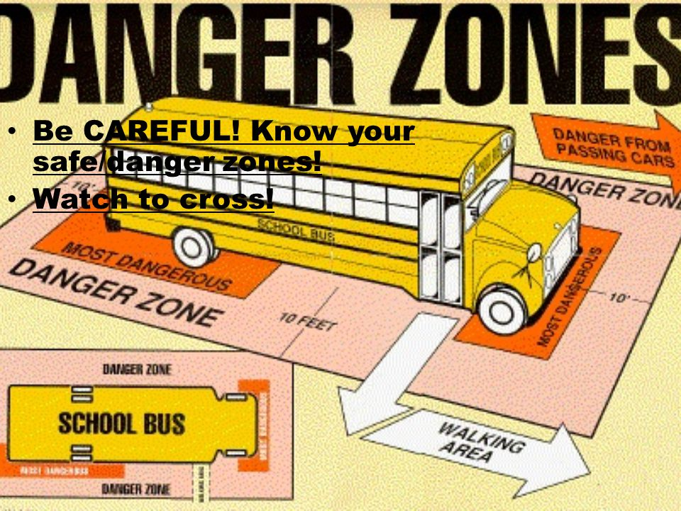 Be CAREFUL! Know your safe/danger zones! Watch to cross!