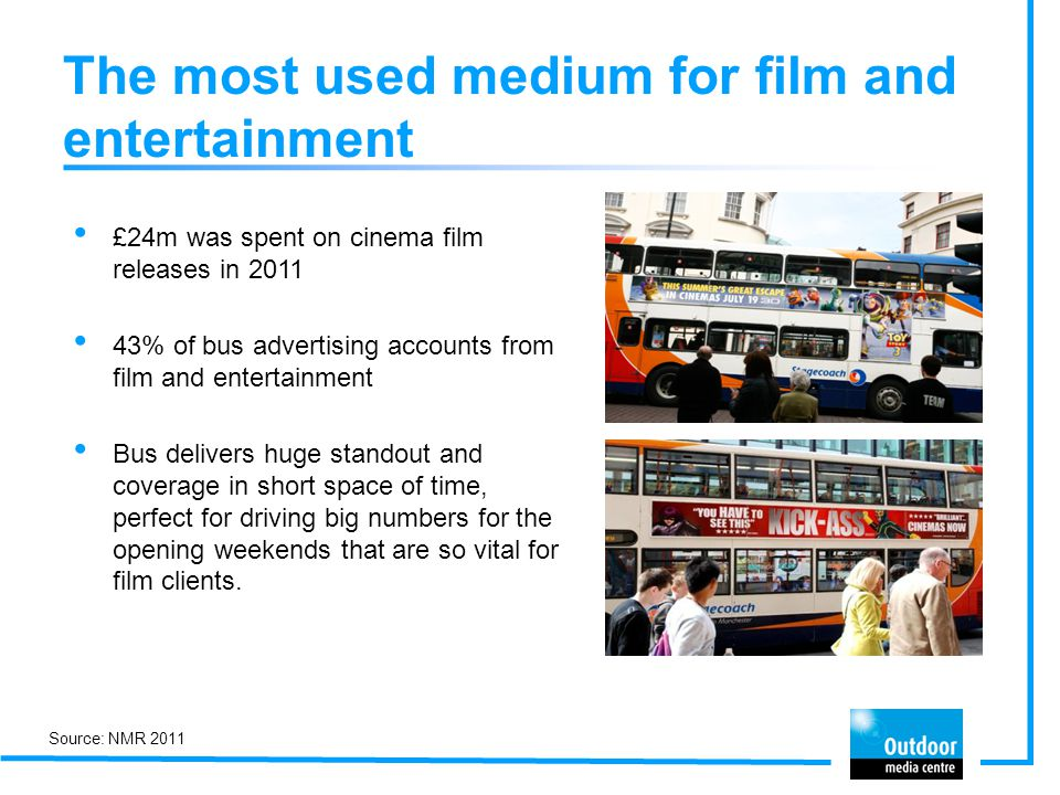 The most used medium for film and entertainment £24m was spent on cinema film releases in 2011 43% of bus advertising accounts from film and entertain