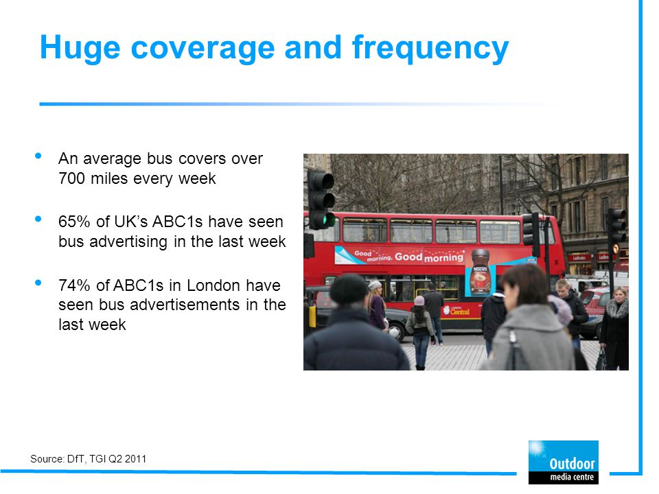 Huge coverage and frequency An average bus covers over 700 miles every week 65% of UKs ABC1s have seen bus advertising in the last week 74% of ABC1s i