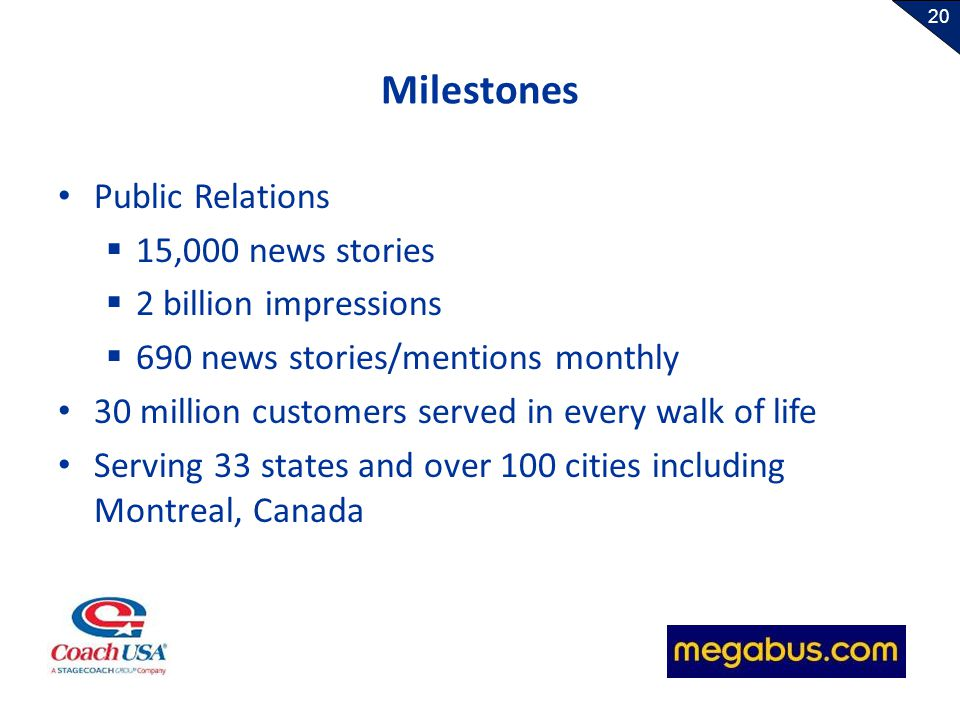 20 Milestones Public Relations 15,000 news stories 2 billion impressions 690 news stories/mentions monthly 30 million customers served in every walk o