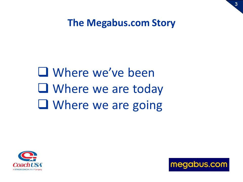 3 Where weve been Where we are today Where we are going The Megabus.com Story