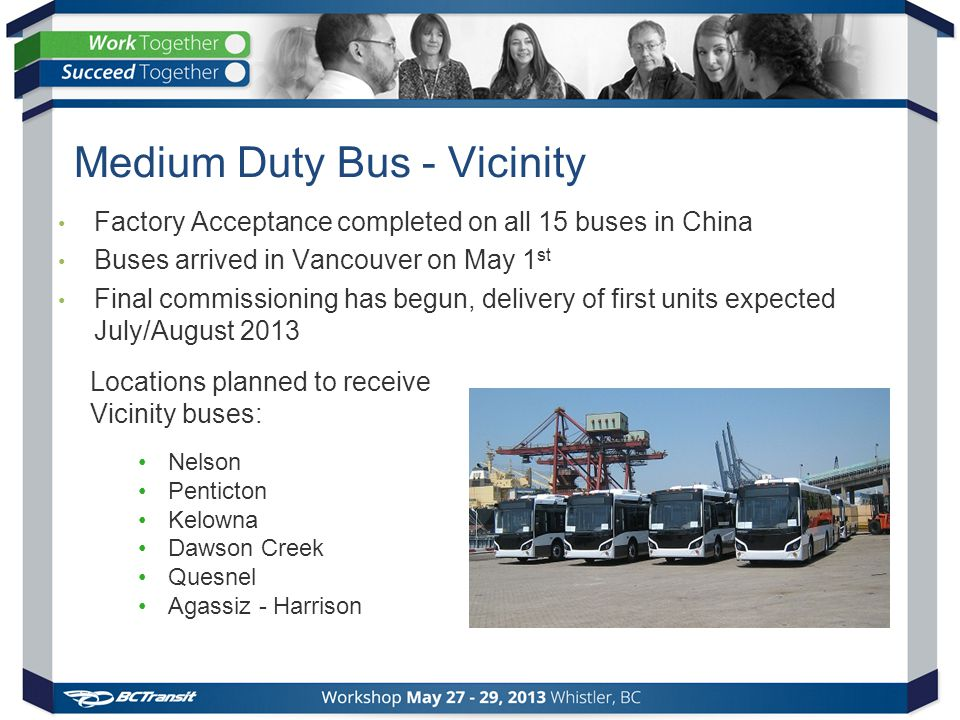 Medium Duty Bus - Vicinity Factory Acceptance completed on all 15 buses in China Buses arrived in Vancouver on May 1 st Final commissioning has begun, delivery of first units expected July/August 2013 Locations planned to receive Vicinity buses: Nelson Penticton Kelowna Dawson Creek Quesnel Agassiz - Harrison