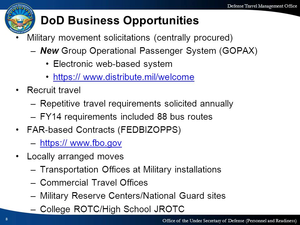 Defense Travel Management Office Office of the Under Secretary of Defense (Personnel and Readiness) DoD Business Opportunities Military movement solic
