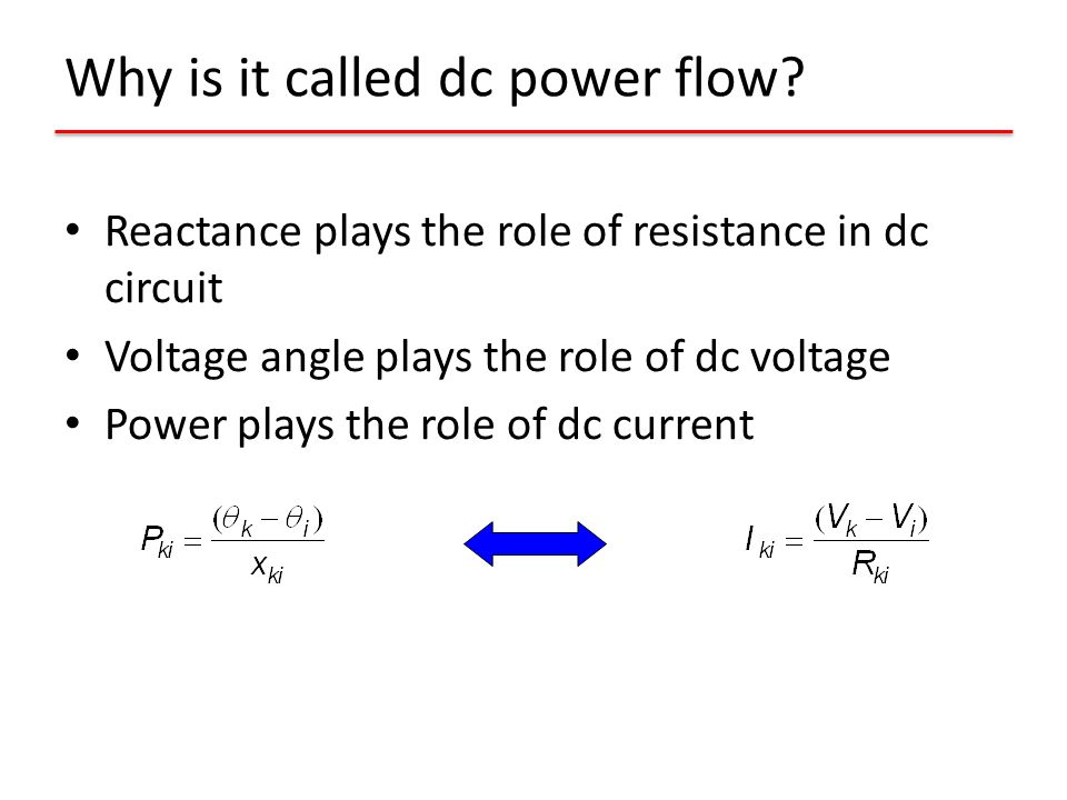 Why is it called dc power flow? Reactance plays the role of resistance in dc circuit Voltage angle plays the role of dc voltage Power plays the role o