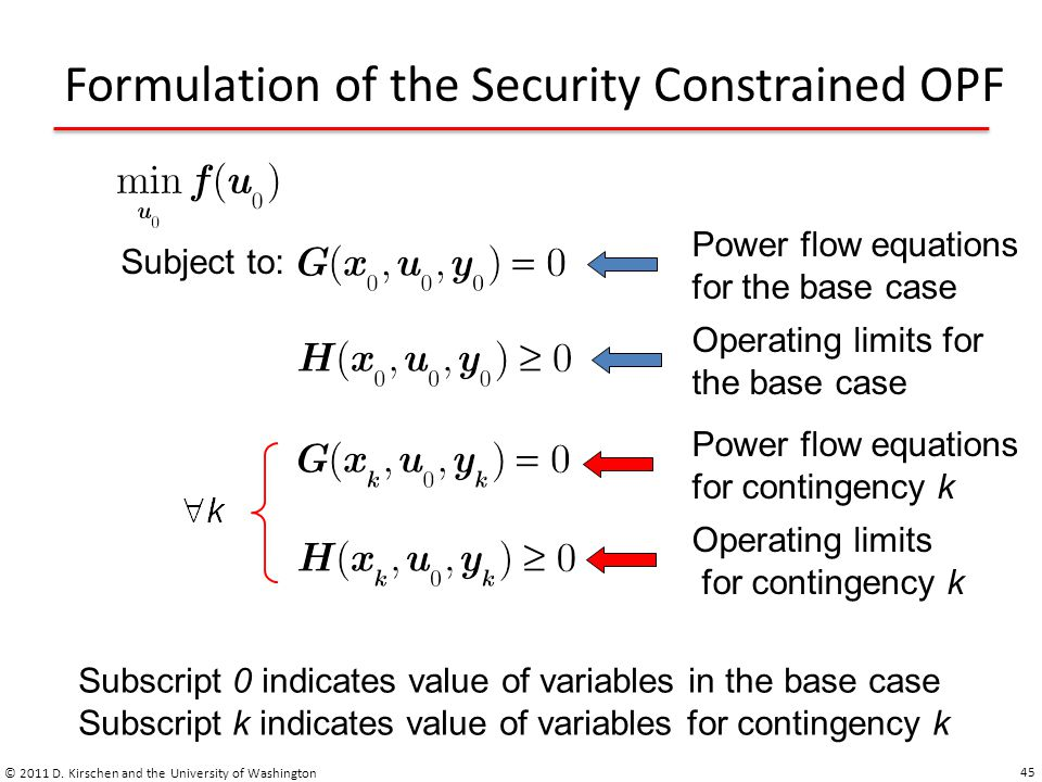 Formulation of the Security Constrained OPF © 2011 D. Kirschen and the University of Washington 45 Subject to: Power flow equations for the base case
