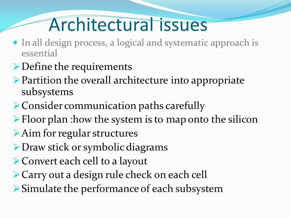 Architectural issues In all design process, a logical and systematic approach is essential Define the requirements Partition the overall architecture