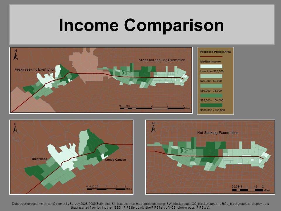 Income Comparison Areas not seeking Exemption Areas seeking Exemption Not Seeking Exemptions Data source used: American Community Survey 2005-2009 Estimates.
