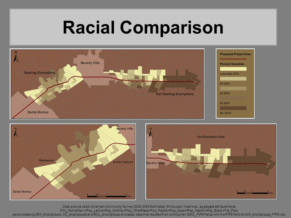 Racial Comparison Data source used: American Community Survey 2005-2009 Estimates. Skills used: inset map, aggregate attribute fields (Pct_Nonwhite =