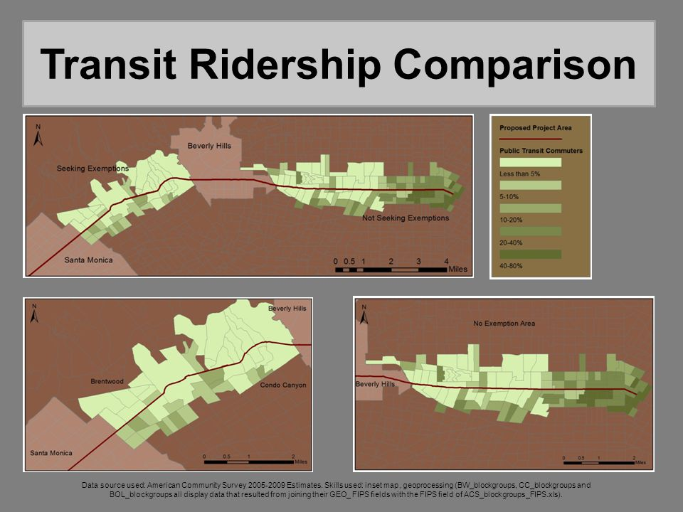 Transit Ridership Comparison Data source used: American Community Survey 2005-2009 Estimates. Skills used: inset map, geoprocessing (BW_blockgroups, C