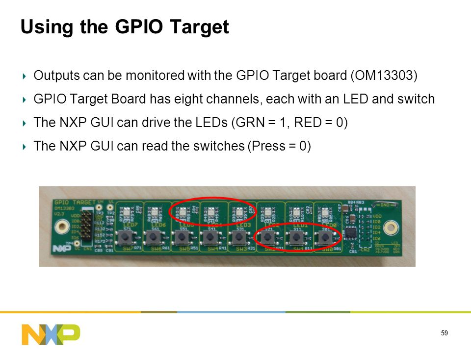 Using the GPIO Target 59 Outputs can be monitored with the GPIO Target board (OM13303) GPIO Target Board has eight channels, each with an LED and switch The NXP GUI can drive the LEDs (GRN = 1, RED = 0) The NXP GUI can read the switches (Press = 0)