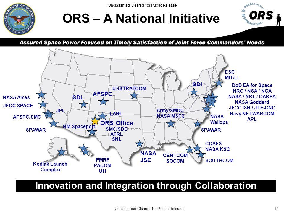 ORS – A National Initiative AFSPC/SMC DoD EA for Space NRO / NSA / NGA NASA / NRL / DARPA NASA Goddard JFCC ISR / JTF-GNO Navy NETWARCOM APL Army/SMDC