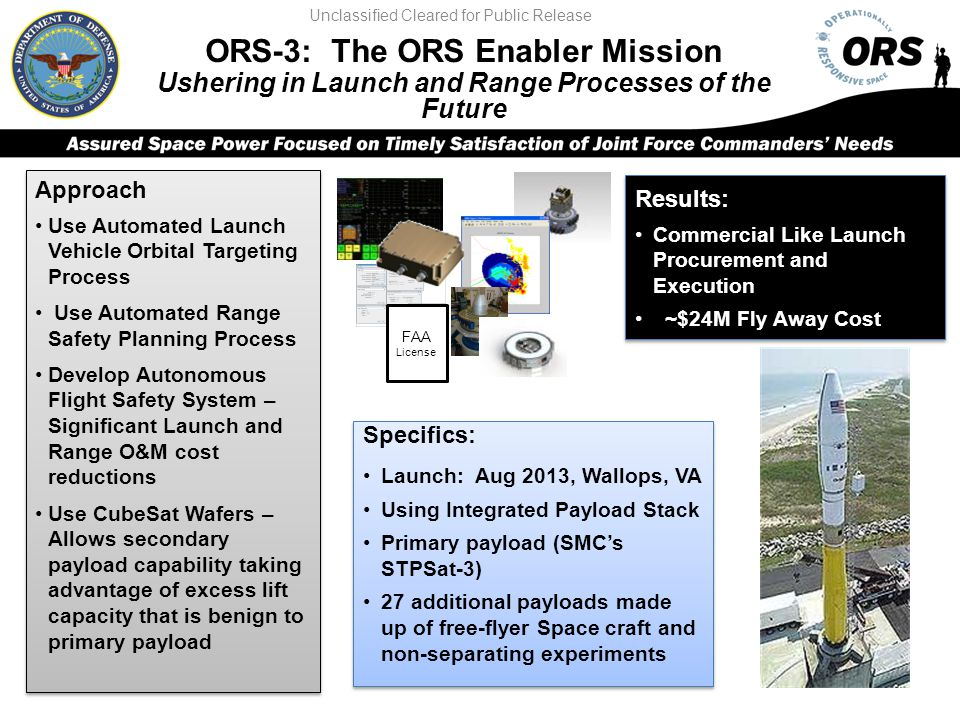 ORS-3: The ORS Enabler Mission Ushering in Launch and Range Processes of the Future Approach Use Automated Launch Vehicle Orbital Targeting Process Us