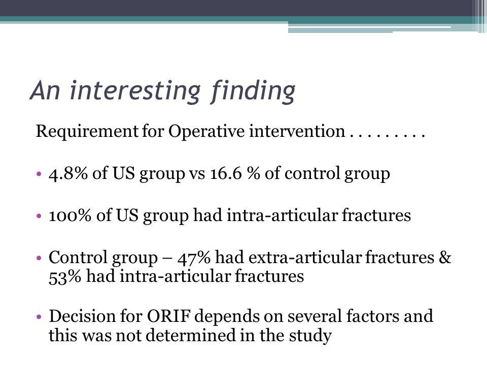 An interesting finding Requirement for Operative intervention......... 4.8% of US group vs 16.6 % of control group 100% of US group had intra-articula