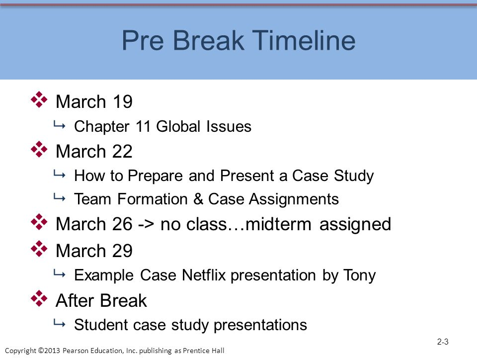 Copyright ©2013 Pearson Education, Inc. publishing as Prentice Hall Pre Break Timeline March 19 Chapter 11 Global Issues March 22 How to Prepare and P