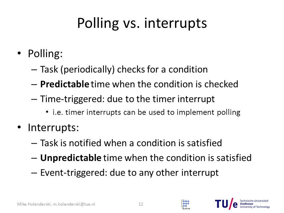 Mike Holenderski, m.holenderski@tue.nl Polling vs.