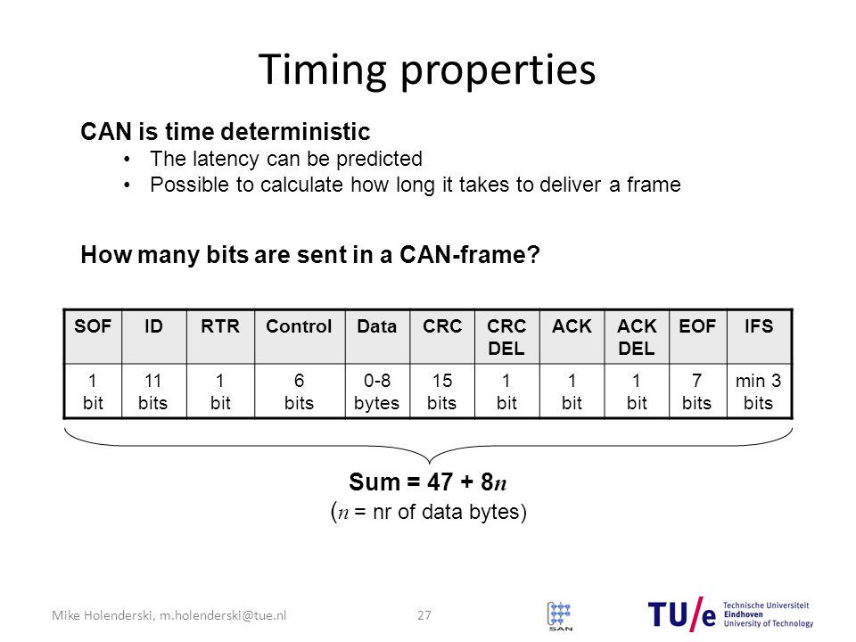 Mike Holenderski, m.holenderski@tue.nl Timing properties CAN is time deterministic The latency can be predicted Possible to calculate how long it takes to deliver a frame SOFIDRTRControlDataCRCCRC DEL ACKACK DEL EOFIFS 1 bit 11 bits 1 bit 6 bits 0-8 bytes 15 bits 1 bit 7 bits min 3 bits Sum = 47 + 8 n ( n = nr of data bytes) 27 How many bits are sent in a CAN-frame