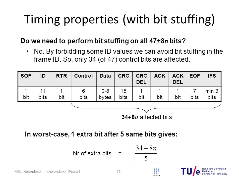 Mike Holenderski, m.holenderski@tue.nl Timing properties (with bit stuffing) Do we need to perform bit stuffing on all 47+8 n bits.