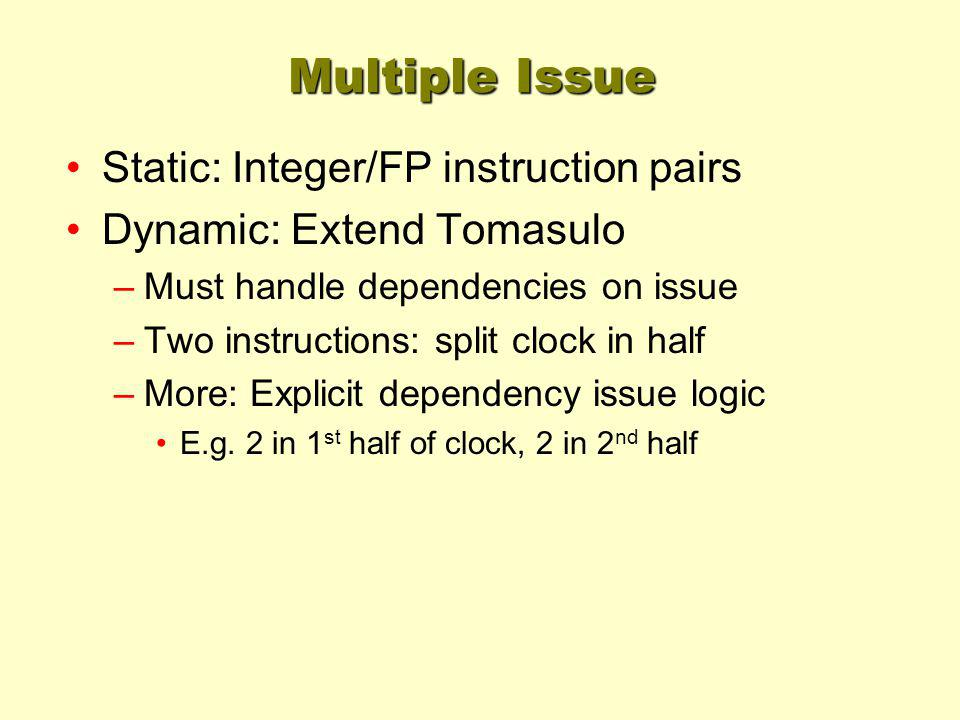 Multiple Issue Static: Integer/FP instruction pairs Dynamic: Extend Tomasulo –Must handle dependencies on issue –Two instructions: split clock in half