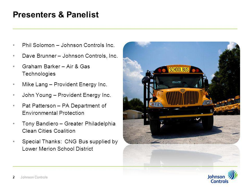 Presenters & Panelist Phil Solomon – Johnson Controls Inc. Dave Brunner – Johnson Controls, Inc. Graham Barker – Air & Gas Technologies Mike Lang – Pr