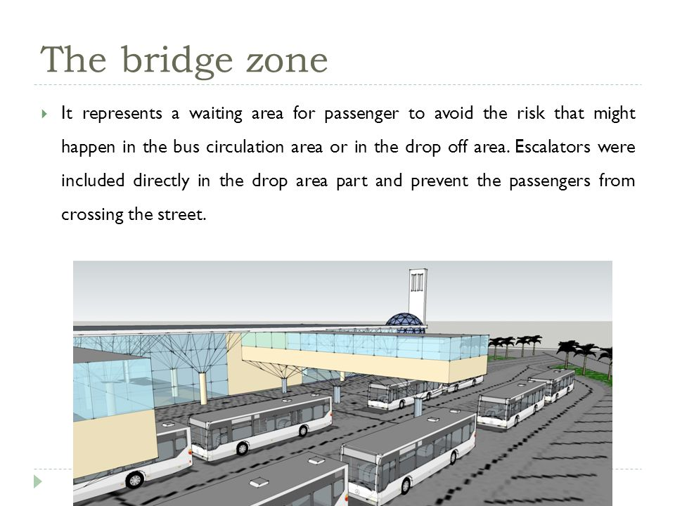 The bridge zone It represents a waiting area for passenger to avoid the risk that might happen in the bus circulation area or in the drop off area.